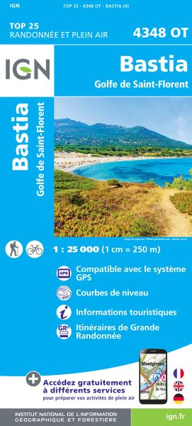IGN 4348 OT Bastia - Golfe de St-Florent, Korsika Wanderkarte 1:25.000