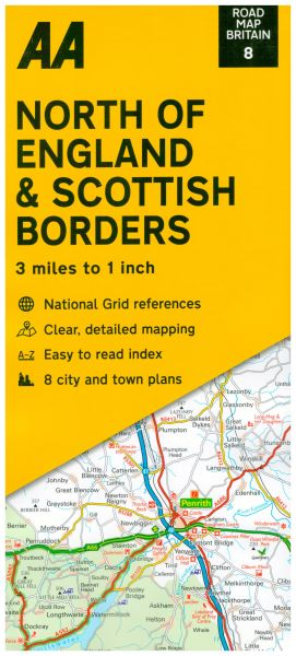 AA Road Map Britain 8, North of England & Scottish Borders 1:200.000