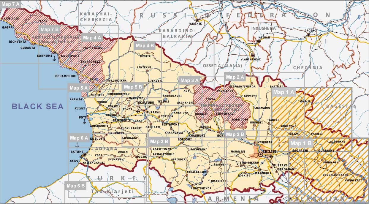 Georgien Karte Regionen.Kakheti Tusheti Georgien Straßenkarte 1 200 000